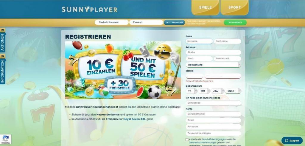 sunnyplayer registration