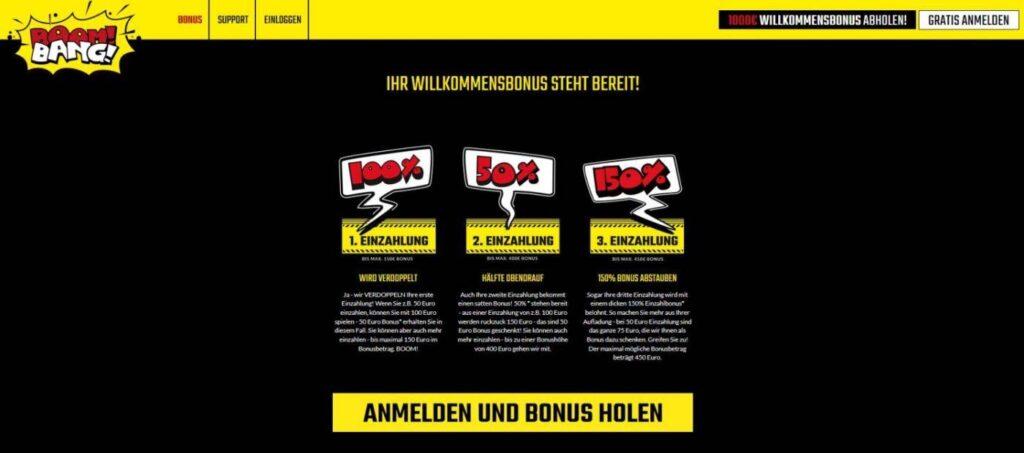 Boom Bang Bonus - 1000€ Boom Bang Bonus auf die ersten drei Einzahlungen