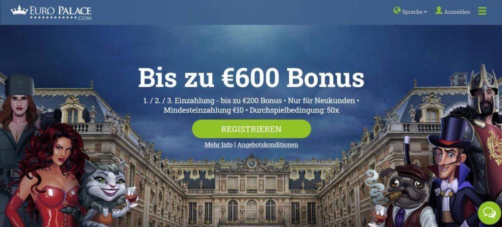 Euro Palace Bonus - Bis zu 600€ Bonus für Neukunden im Euro Palace Casino