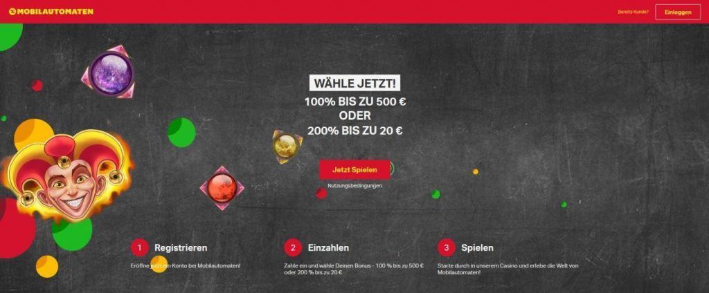 Mobilautomaten Bonus - 100% oder 200% Mobilautomaten Bonus im Casino