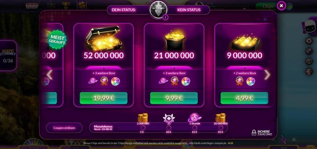 jackpot.de Coins kaufen 1 - Täglich Gratis-Chips als Bonus bei Jackpot.de