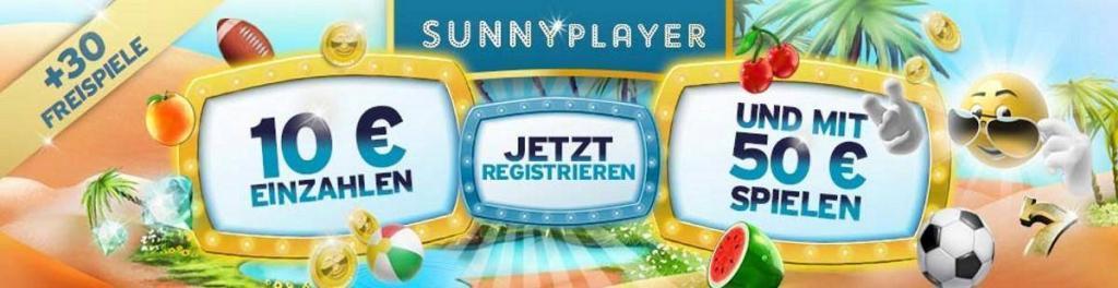 sunnyplayer Bonus - 40€ für 10€ bei der ersten Einzahlung im Sunnyplayer Casino